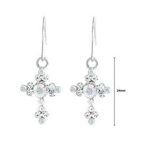 Crosslet Pair Earing with Silver Austrian Element Crystals