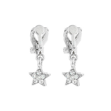 Twinkle Little Star Earrings with Silver Austrian Element Crystals (Non Piercing)