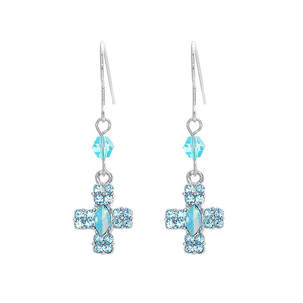 Glistening Cross Earrings with Blue Austrian Element Crystals