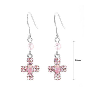 Glistening Cross Earrings with Pink Austrian Element Crystals