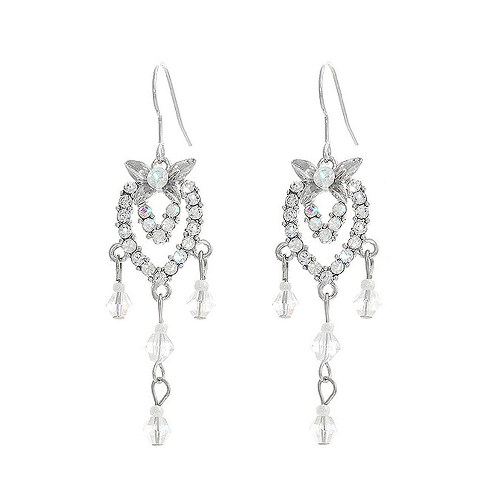 Antique Earrings with Silver Austrian Crystals