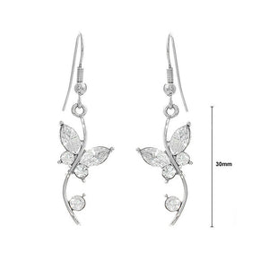 Butterfly in Flower Earrings with Silver Austrian Element Crystals and Crystal Glass