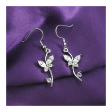 Load image into Gallery viewer, Butterfly in Flower Earrings with Silver Austrian Element Crystals and Crystal Glass