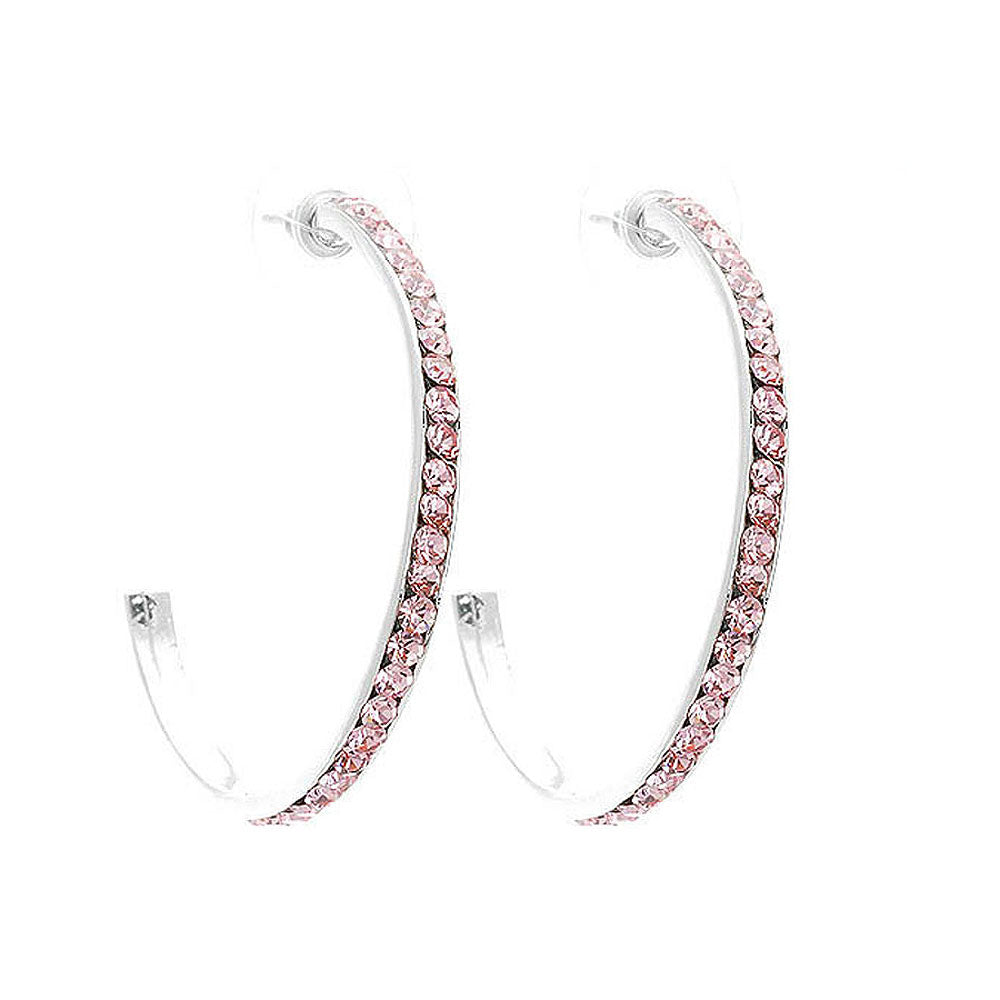 Circular Earrings with Pink Austrian Element Crystals