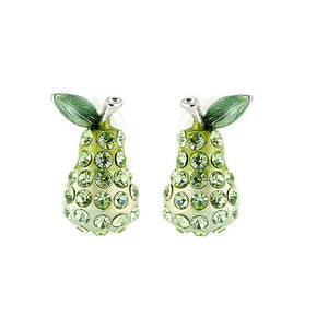 Green Pear Earrings with Green Austrian Element Crystals