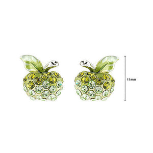 Fresh Apple Earrings with Green Austrian Element Crystals