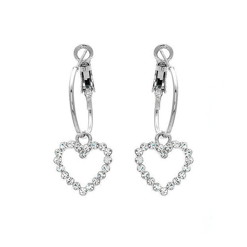Swaying Heart Earrings with silver Austrian Element Crystals