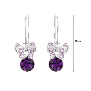 Mini Butterfly Earrings with Purple Austrian Element Crystals