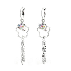 Flower Shape Earrings with Tassols and Multi-color Austrian Element Crystals