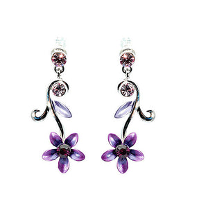 Purple Flower Earrings with Austrian Element Crystals