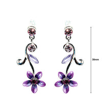 Load image into Gallery viewer, Purple Flower Earrings with Austrian Element Crystals