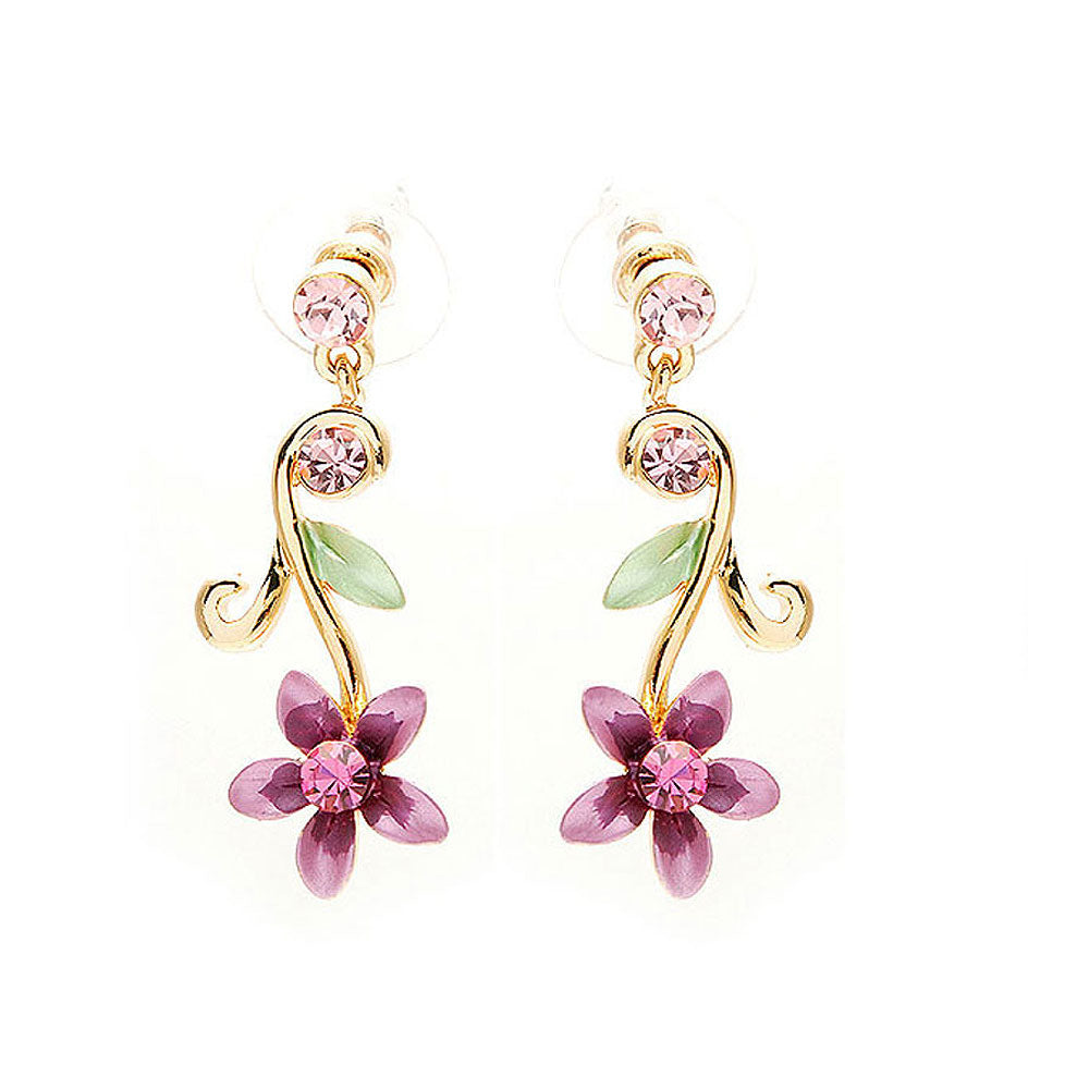 Purple Flower Golden Pair Earrings with Austrian Element Crystals