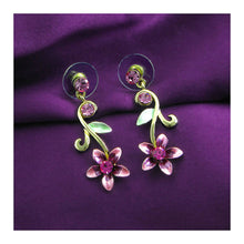 Load image into Gallery viewer, Purple Flower Golden Pair Earrings with Austrian Element Crystals