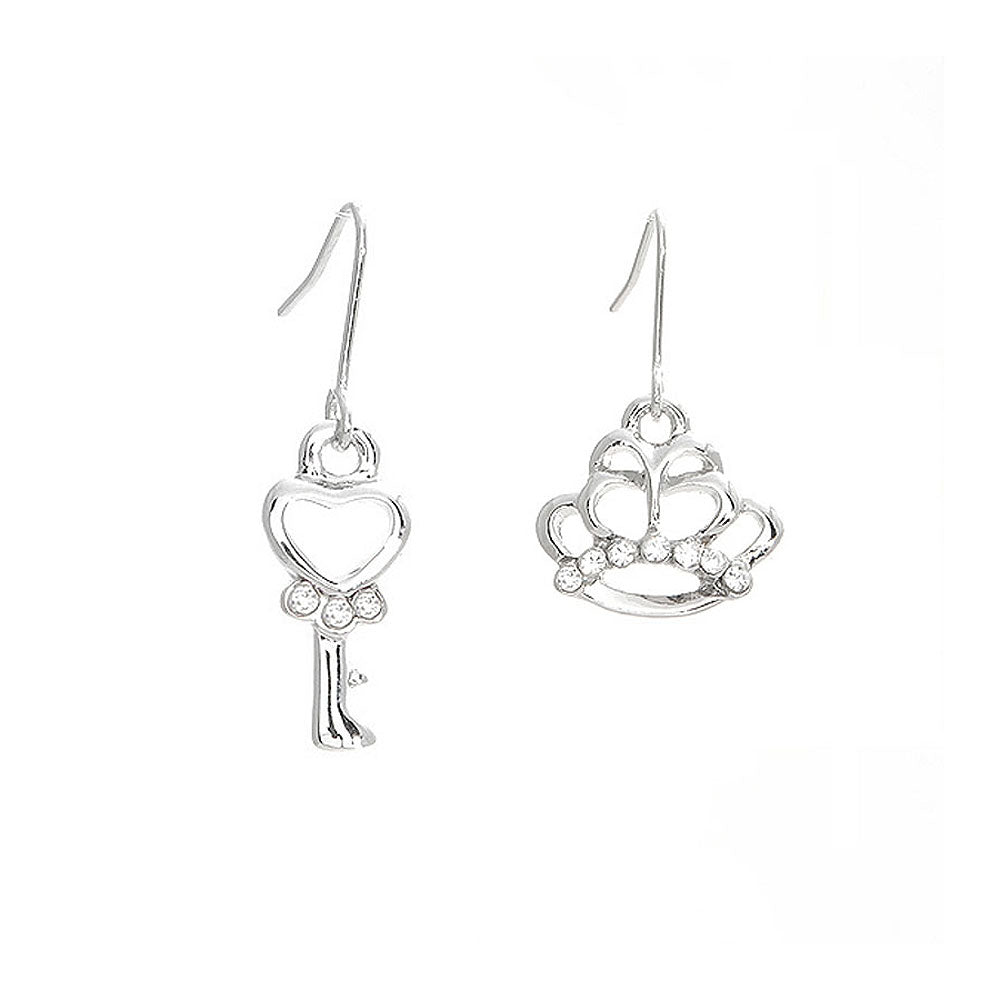 Elegant Crown and Baton Earrings with Silver Austrian Element Crystals