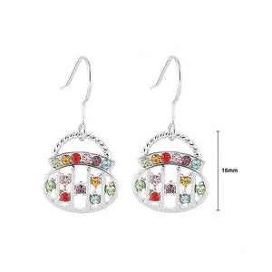 Elegant Round Handbag Earrings with Multi Color Austrian Element Crystals