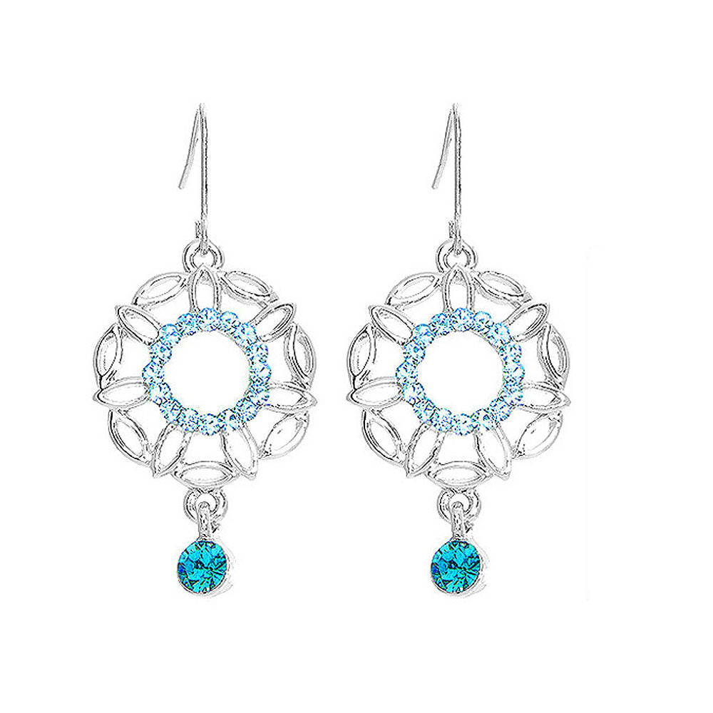 Antique Earrings with Blue Austrian Crystals