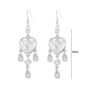 Elegant Heart Shape Earrings with Silver Austrian Element Crystals and CZ