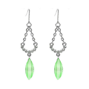 Trendy Earrings with Silver Austrian Element Crystals and Greenish Blue Crystal Glass