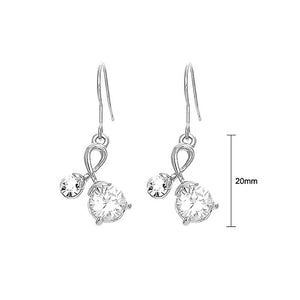 Elegant Earrings with Silver Austrian Element Crystals