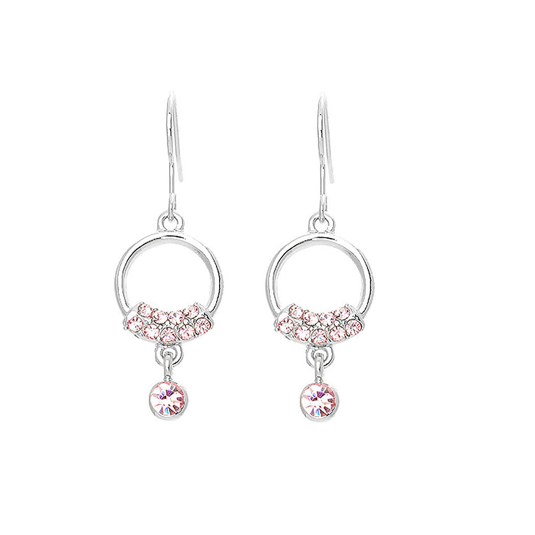 Elegant Earrings with Pink Austrian Element Crystals