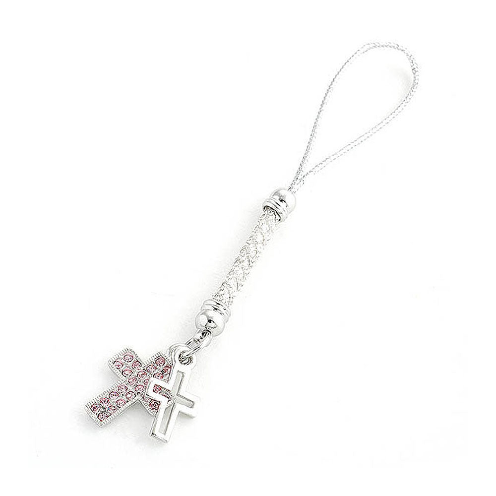 Double Cross Strap with Pink Austrian Element Crystals