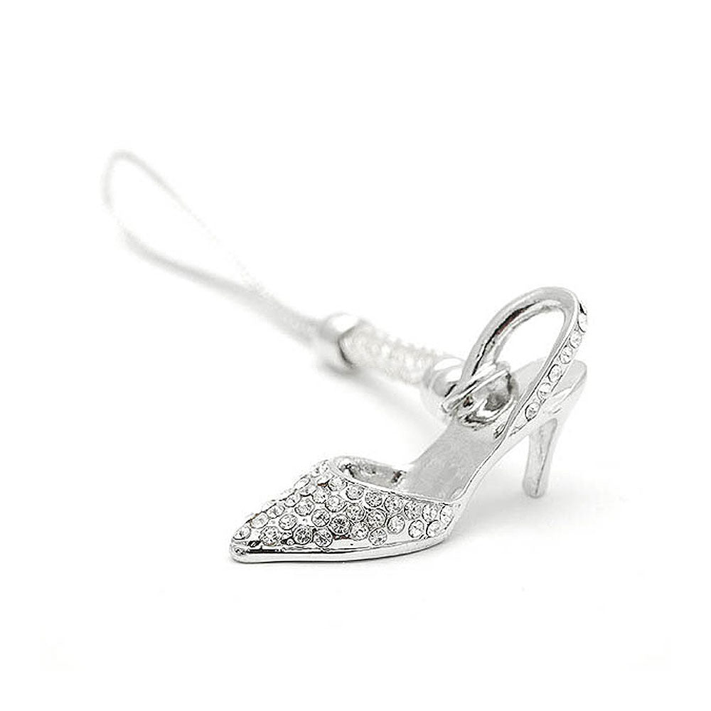 White Strap with High-heeled Shoe Charm by Silver Austrian Element Crystals