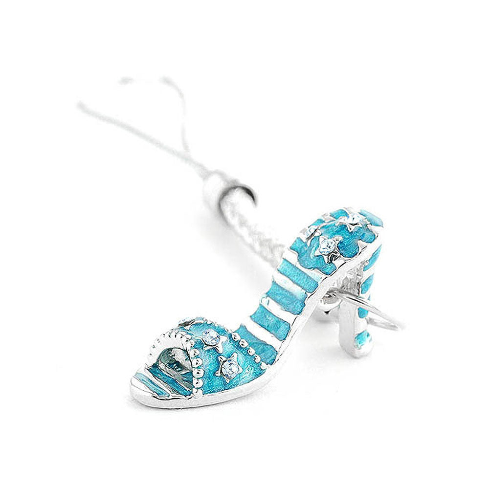 White Strap with Blue High-heeled Shoe Charm by Blue Austrian Element Crystals