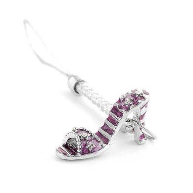 White Strap with Purple High-heeled Shoe Charm by Purple Austrian Element Crystals