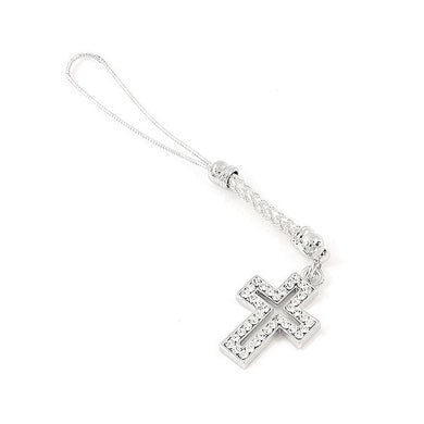 White Strap with Cross Charm by Silver Austrian Element Crystals