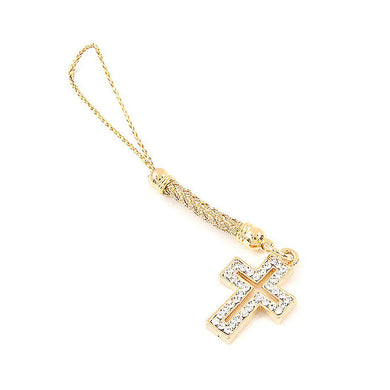 Golden Strap with Cross Charm and Silver Austrian Element Crystals