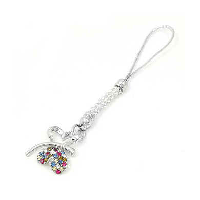 White Strap with Double Heart Butterfly in Multi-color Austrian Element Crystals