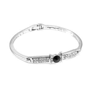 Elegant Bow Tie Bangle with Black Austrian Element Crystal