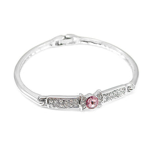 Elegant Bow Tie Bangle with Pink Austrian Element Crystal