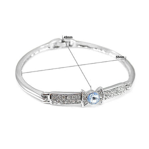 Elegant Bow Tie Bangle with Blue Austrian Element Crystal