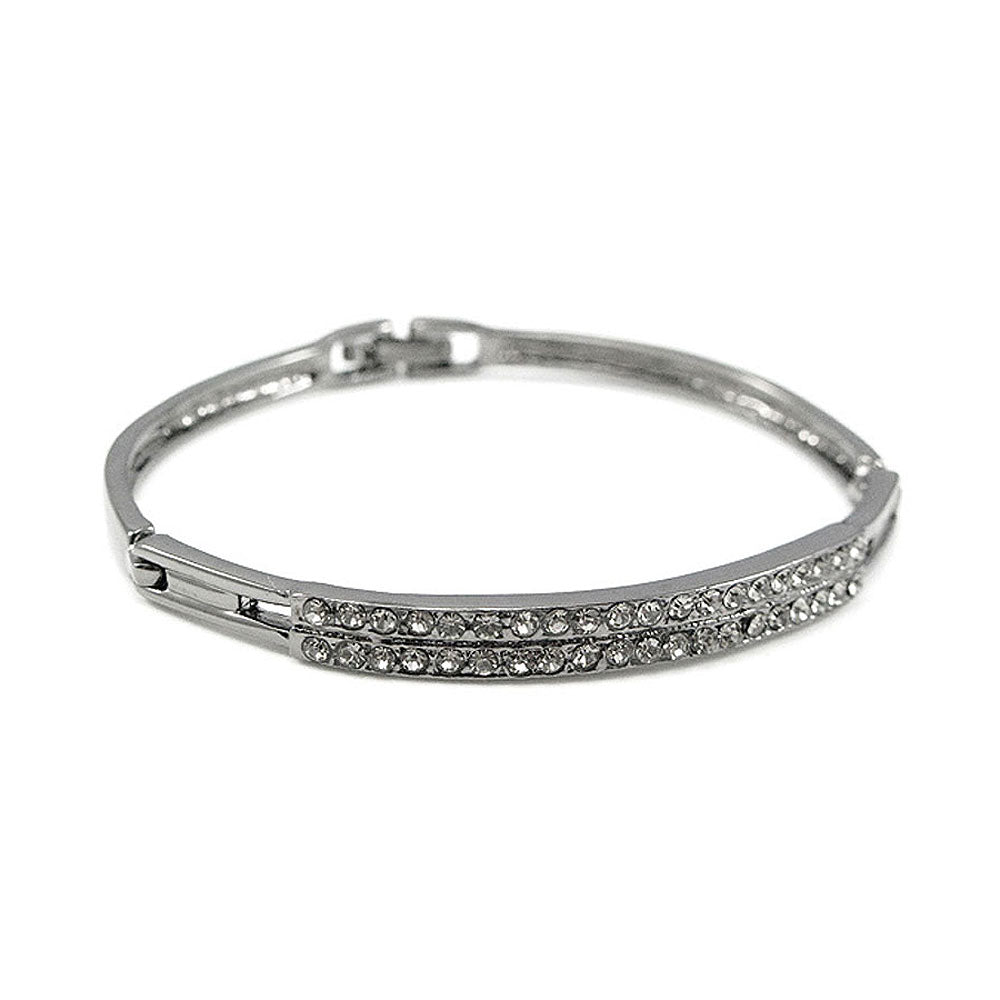 Elegant Bangle with Dark Grey Austrian Element Crystal
