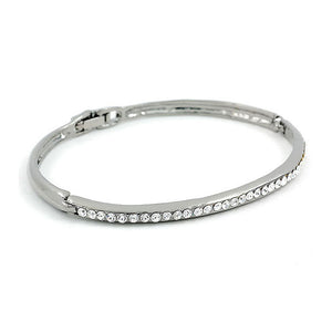 Elegant Black Bangle with Silver Austrian Element Crystals