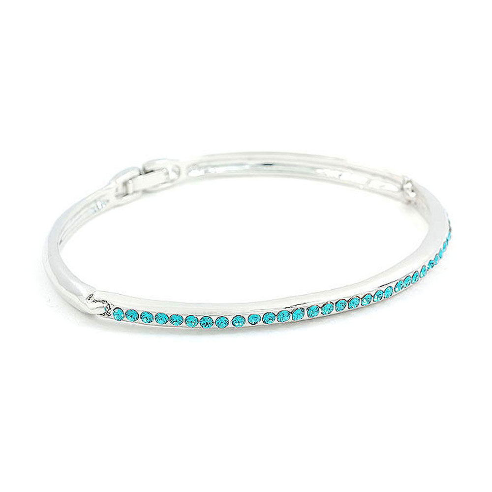 Elegant Bangle with Sky Blue Austrian Element Crystals