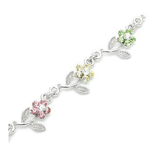 Leafy Flower Bracelet with Multi-colour Austrian Element Crystals