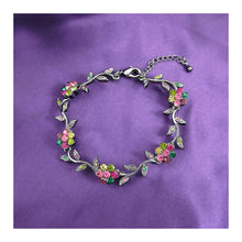 Load image into Gallery viewer, Leafy Flower Bracelet with Multi-colour Austrian Element Crystals