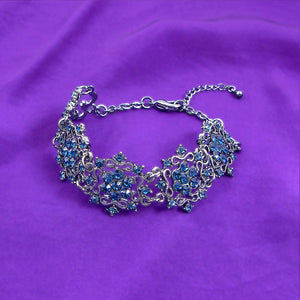 Antique Bracelet with Banquet Elegance Blue Austrian Element Crystals