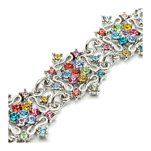 Load image into Gallery viewer, Antique Silver Bracelet with Multi-color Austrian Element Crystals