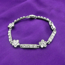 Load image into Gallery viewer, Silver Flower Bracelet with Silver Austrian Element Crystals