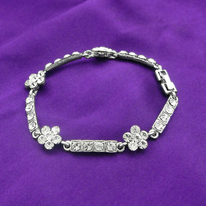 Silver Flower Bracelet with Silver Austrian Element Crystals