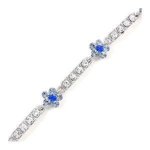 Flower Bracelet with Blue and Silver Austrian Element Crystals