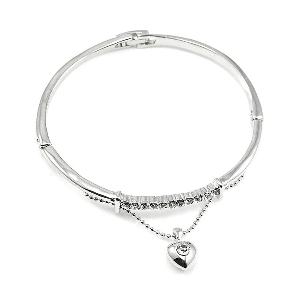 Elegant Bangle with Silver Austrian Element Crystal and Heart Charm