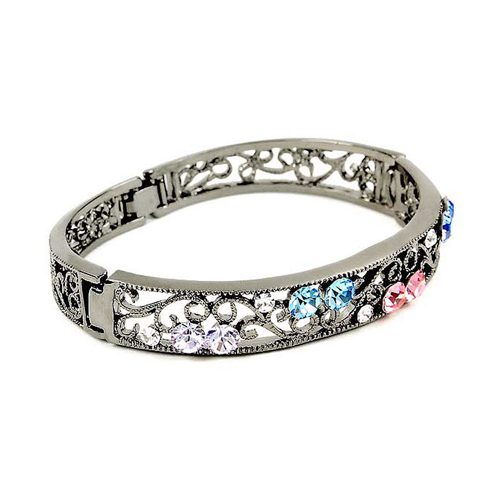 Elegant Bangle with Multi-color Austrian Element Crystals