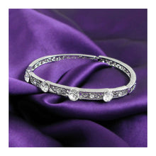 Load image into Gallery viewer, Antique Bangle with Silver Austrian Crystals