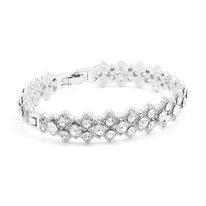 Antique Bangle with Silver Austrian Crystals