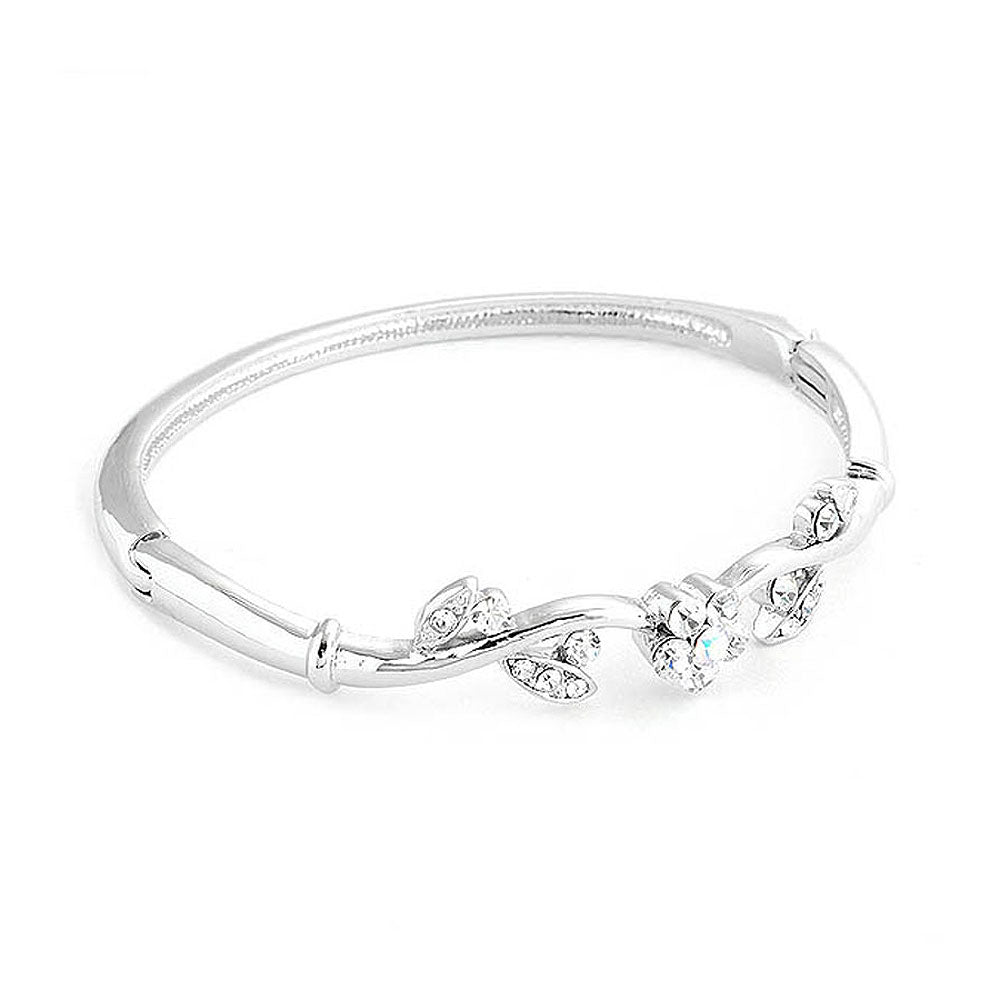 Elegant Flower Bangle with Silver Austrian Element Crystals