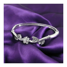 Load image into Gallery viewer, Elegant Flower Bangle with Silver Austrian Element Crystals